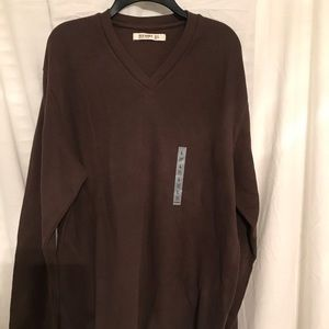 Men's brown long sleeve v neck sweater